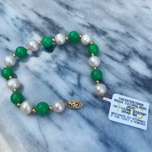 Jewelry - Jade/pearl/gold bracelet